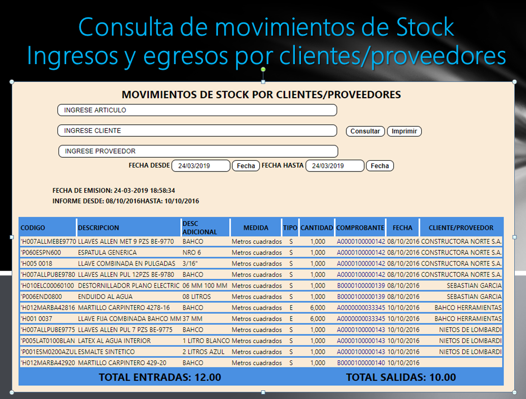 MOVIMIENTOS DE STOCK